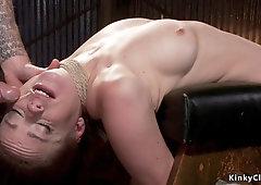 Brutal bondage and ass fuck for big bust slave
