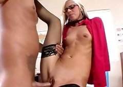 Alluring blonde Christine Alexis is getting a hot blowjob
