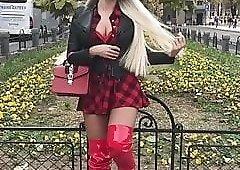 Milf in red skirt