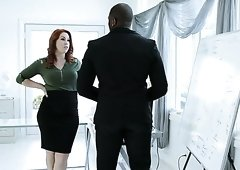 Buxom appetizing redhead Edyn Blair is expert at pleasing strong BBC