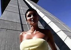 Short-haired European brunette gets sweaty during a BJ
