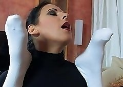 Mistress fucking her lover with a strapon