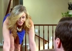 Milf Julia Ann takes client's cock down her throat then rides him til he busts
