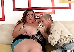 Horny buddy jams giant tits of SSBBW Kayla Mounds during mish