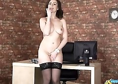 British babe strips from her sexy work clothes