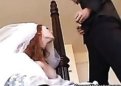 Horny bride fucks while still wearing her gown
