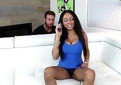 Ebony chick got fucked on the sofa