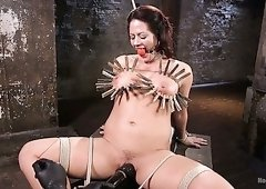 Gagged busty sexpot Holly Heart lets dude fuck her with lots toys