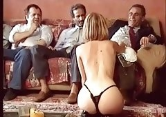 blonde girl suck old group