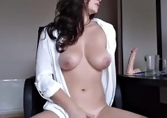 beauty big tits brunette rubs her vagina all alone