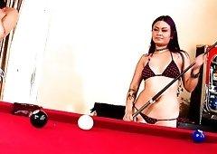 Just incredibly slutty billiard girl Annie Cruz wanna get her twat pleased
