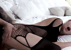 Magnificent lady in sexy bodystocking gets owned in doggystyle