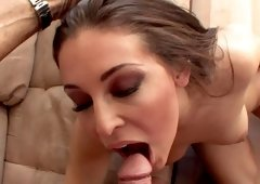 A sensual brunette that has a big butt gets semen in her mouth