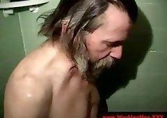Beefy bear teasing in shower