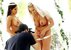 Brides with big tits flash their pussies and nice ass in a backstage scene