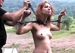 Sexy bondage whore receives punishment from two perverts BDSM porn