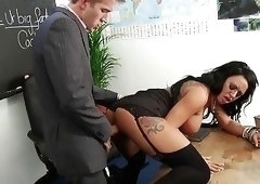 Brunette with an amazing tan fucked in the classroom