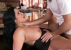 Alluring buxomy latino MILF Sophia Lomeli featuring blow job video