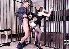 Lingerie babes visit the jail for a hardcore threesome