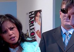 Kaylani Lei gets cum in mouth after involved in a doggystyle hardcore shoot