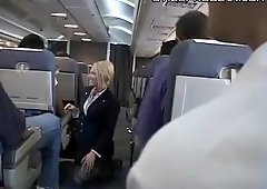 flight attendant giving blowjob and handjob and fucking on plane