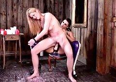 extra busty sub slut tasha holz gets straponed by mean mistress anna polina