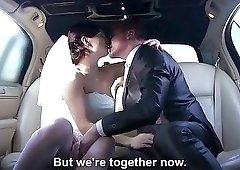 Bride goes crazy in the car with two dudes