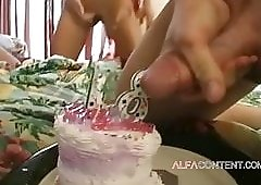 Double penetration threesome for 18th birthday