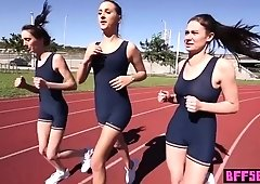 Lesbian eighteen years old athletes tasted vaginas after workout