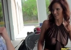 Alluring platinum mom is giving head in outdoor