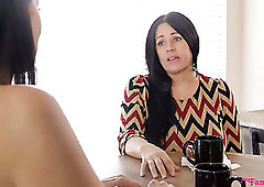 Big breasted Reagan Foxx hears some noise and joins horny MFF threesome