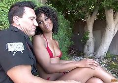 Interracial close up sloppy blowjob with ebony Misty Stone getting cum