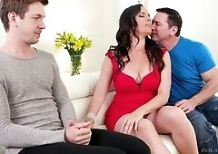 Torrid raven haired cowgirl Dana DeArmond gets all sweaty during DP