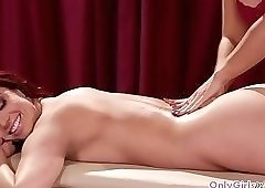 Busty redhead,pussylicked by lesbian masseuse