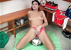 Big breasts babe grinds her pussy on soccer ball