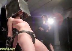 Lesbian dominas drip wax on sub