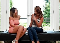 Brunette MILF sluts Kendra and Ally share a fat cock on casting