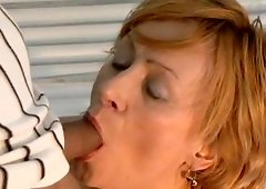 Mature lady cannot resist a horny fellow's engorged boner