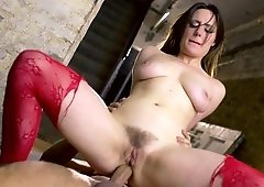 A brunette that has a hairy pussy is getting her tight ass rammed