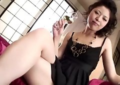 After a glass of wine horny Hana takes on a group of hard dicks
