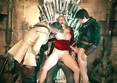 Queen Sexcei gets all of her dirty holes filled with three dicks on the throne