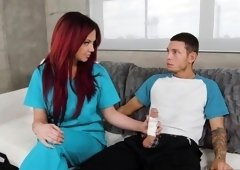 Busty redhead nurse sucks Tyler's cock till the last drop