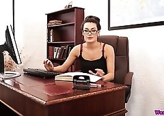 Wondrous sexy office slut Laura stripteases and plays with a dildo
