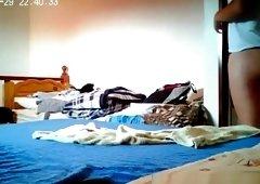 Teen caught in her bedroom dressing
