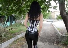 Tight-Laced Corset and Latex Leggings
