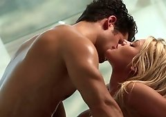 Romantic love-making scene with remarkable blonde and her man