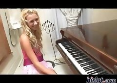 Horny bitch has some cock after piano lessons