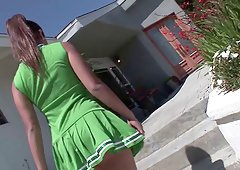 Flexible senorita lies down on the bed and gets spooned hard