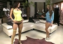Insatiable Czech chick Mea Melone and her lustful GF are fucked by one well endowed dude