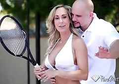 After tennis lesson get laid and facial with MILF Brandi Love